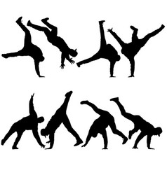 Black set silhouettes breakdancer on a white vector