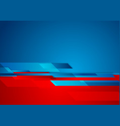 Blue red contrast technology geometric abstract vector