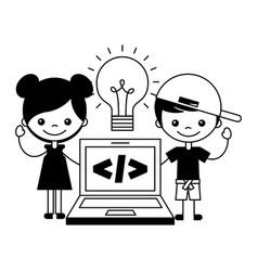 boy and girl laptop bulb creativity vector image