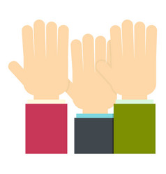 Businessmen hands up icon isolated vector