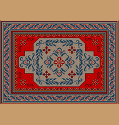 Carpet redgray and blue shades with ornament vector