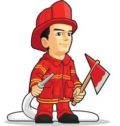 Cartoon firefighter boy vector