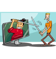 Cartoon man and interactive television vector image vector image
