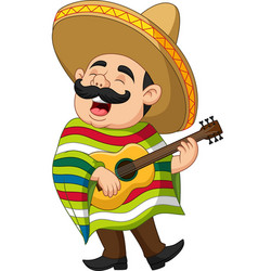 cartoon mexican man playing guitar and sing vector image