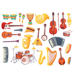 Cartoon musical instruments guitars bongo drums vector