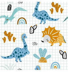 childish seamless pattern with hand drawn vector image