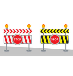 Closed road sign for barrier construction marking vector
