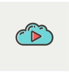 Cloud with arrow pointing to the right thin line vector image