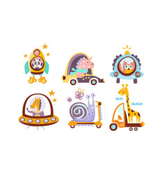 Collection toy transport with cute animals vector