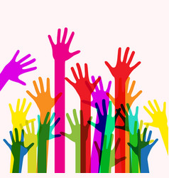 Colorful human hands vector