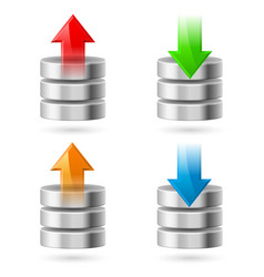 computer database with upload and download arrows vector image