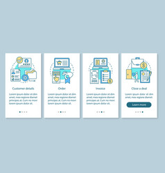 Crm software onboarding mobile app page screen vector