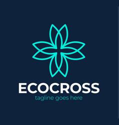 cross pharmacy healthy logo natural medicine vector image