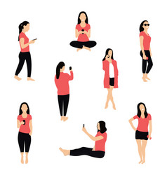 crowd people with smartphones women teens vector image