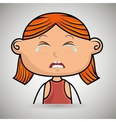 crying cartoon little girl on white background vector image
