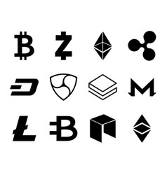 Cryptocurrency logo set vector