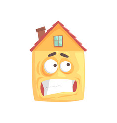 Cute house cartoon character with nervous smile vector