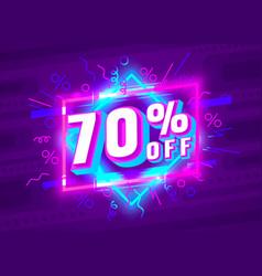 cyber 70 off sale banner light neon flyer retro vector image