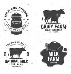 dairy farm only fresh milk badge logo vector image