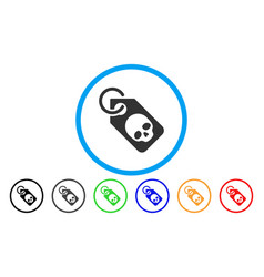 death skull tag rounded icon vector image