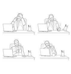 different actions and emotions men talking vector image