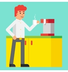 Drink Morning Invigorating coffee Machine Male vector image