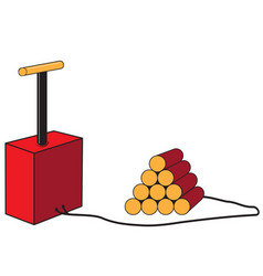 Dynamite sticks with detonator vector