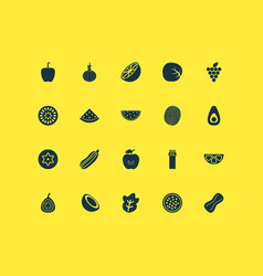 food icons set with palm fruit grapes passion vector image