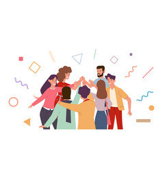 friends doing high five cheerful vector image