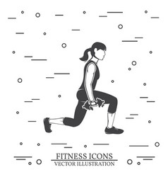 Girl do exercises with dumbbells vector