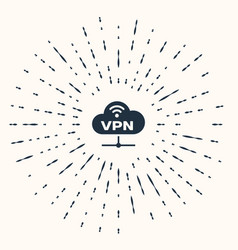 Grey vpn network cloud connection icon isolated on vector