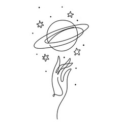 Hand and planet saturn with rings aesthetic line vector