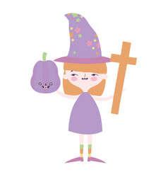 happy halloween celebration girl witch pumpkin and vector image
