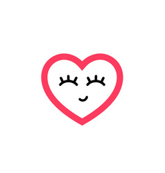 icon a heart with closed eyes vector image