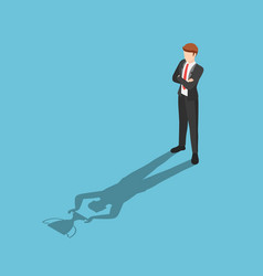 Isometric businessman standing with his shadow vector