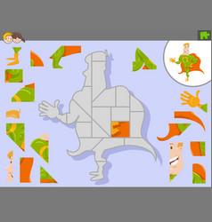 Jigsaw puzzle game with cartoon superhero vector