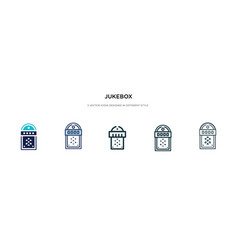 Jukebox icon in different style two colored and vector