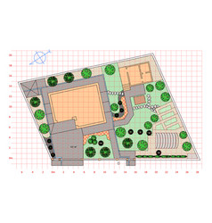 Landscaping plan garden vector