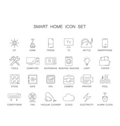 line icons set smart home pack vector image