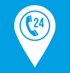 Map pointer with phone handset icon white vector