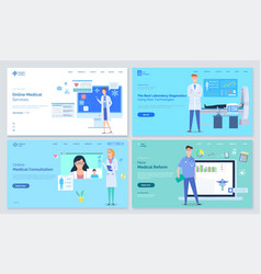 medical sites templates various doctors stand on vector image