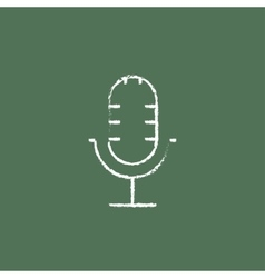Microphone icon drawn in chalk vector image