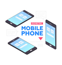 mobile phones banner - modern isometric vector image