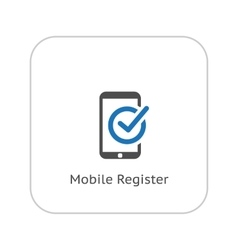 Mobile Register Icon Online Learning Flat Design vector image