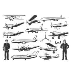 modern and vintage airplanes pilot vector image