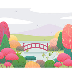 Nature scene with and autumn garden and bridge vector