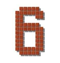 Number 6 made from realistic stone tiles vector
