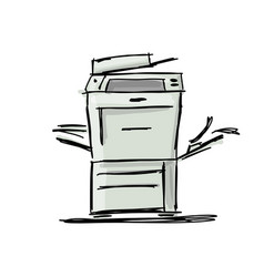 Office multi-function printer sketch for your vector