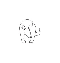 One continuous line drawing cute aardvark vector