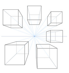 one point perspective line drawings set cubes vector image